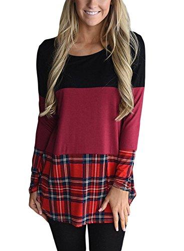49959d7c94d8e7 Leindr Women Crewneck Color Block T Shirt Long Sleeve Tunic Blouse and Tops  with Plaid Hem S-XXL