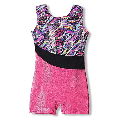 b87b931e3 One-piece Girls Gymnastic Leotards Sparkle Ribbon Sleeveless Dance ...