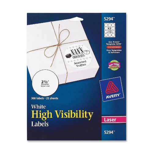 avery high visibility 1 3 inch diameter white labels 600