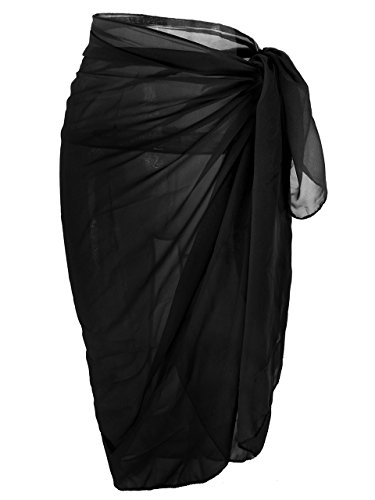 a3ed5dfda481e Ayliss Womens Swimwear Chiffon Cover up Solid Color Beach Sarong Swimsuit  Wrap,Black